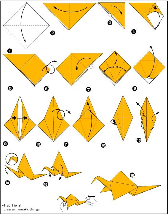 Оригами. Схема журавлик.