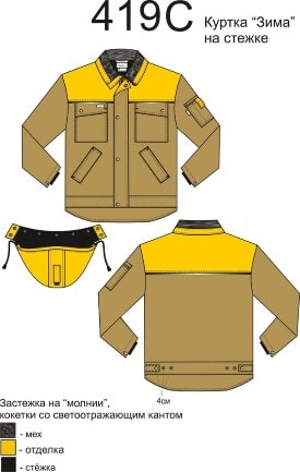 Спецодежда. Специальная одежда. Куртка на застежке.