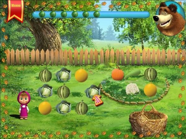 Развивающая игра для детей с Машей и Медведем.